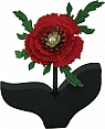 1 Holzstecker Mohnblume/Klatschmohn rot mit Perle, h 11 cm