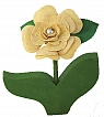 1 rose yellow, for candlerings, h 11 cm