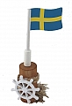 Swedis flag on a big bollard, hight 10 cm