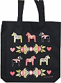 Swedish textile bag Dalakurbits black, 35x46 cm