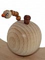 1 wooden apple with worm, natural/brown, h 5 cm