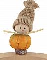 Autumn pumpkin gnome yellow with knitting cap beige, h 9,5 cm