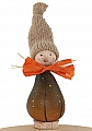 Large Autumn pumpkin gnome brown with knitting cap beige, h 15 cm