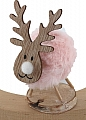 Reindeer with plush felt rose for candlerings, H 9,5 cm