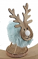 Reindeer with plush felt blue for candlerings, H 9,5