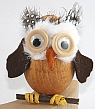 1 owl with a wooden stick light brown for candlerings, H 7 cm, 6 mm wood plug