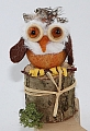 Small owl on a stump, light brown for candlerings, H 7 cm, 6 mm wood plug
