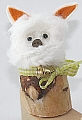 Small birch stump dog  for candlerings, H 7 cm, 6 mm wood plug
