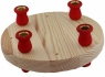 candle holder  plate natural 16,5 cm, 4 mm trous for figures, candle holder red