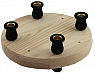 candle holder  plate natural 16,5 cm, 4 mm trous for figures, candle holder black