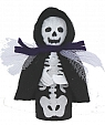 Halloween - skeleton, with black cape, H 9 cm,  for candlerings