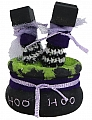 Halloween Witch boiler with 2 legs, black/lia, H 7 cm