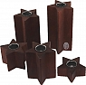Sebastian design tea light holder set  set stars, 5-part, dark brown