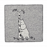 Swedish seat pad Moomin tree hug, wooven lamb wool, light grey, 43x43 cm