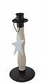 metall candleholder with wood in the middle part, with a metall star o a ribbon, h 24 cm, natural white