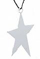 Sebastian design metall star on a ribbon, white, h 8 cm
