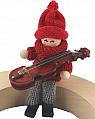 Santa figure with violin, sitting,red/grey,  l 10 cm