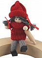 Santa figure with rolling pin, sitting,red/grey,  l 10 cm