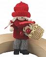 Santa girl with basket, sitting,red/grey,  l 10 cm