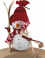 Big Snowman with skis, red/white scarf and knitted cap, H 11 cm, for candlerings