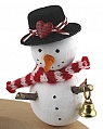 Snowman with red/white scarf and small bell, H 9 cm, for candlerings