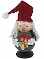Tomte with bell felt cap, H 8 cm, red/grey