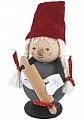 Tomte with bell felt cap with rolling pin, H 8 cm, red/grey, without wood plug