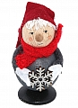 Tomte with snow flake and felt cap, H 8 cm, red/grey