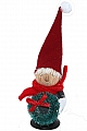 Tomte with green fir ring and felt cap, H 8 cm, red/grey
