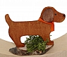 dog brown on a wood plate, for candlerings, H 5 cm, 6 mm wood plug