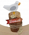 1 small seagull on a big bollard with a beach sign, hight 8 cm