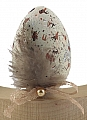 1 wooden Easter egg speckled beige with a loop/feather,  for candlerings, h 6 cm