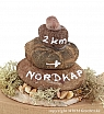 On the beach - stone tower with a sign, hight 6 cm