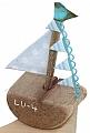 Driftwood sailing boat light blue  for candlerings, h 7 cm