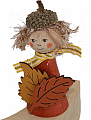 Autumn figure with autumn leaves, cooper, h 8 cm