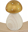 wooden Mushroom with white dots, light gold metallic