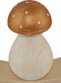 wooden Mushroom with white dots, light copper metallic