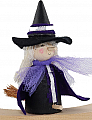 Halloween Witch riding on a broom, black/lia, H 10 cm