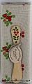 Present set Lingonberry butterknife, Kitchen towel beige/red