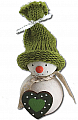 Small Snowman with green heart and knitted cap, H 8 cm, for candlerings