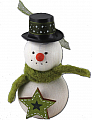 Snowman with green star and knitted cap, H 9 cm, for candlerings