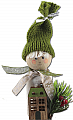 Winter boy with wooden house, knitted cap green, h 13 cm