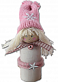 Winter girl with star, knitted cap pink, h 13 cm