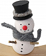 Small Snowman with black top hat, H 7 cm, for candlerings