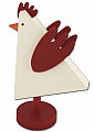 Sebastian modern cock, white/dark red, H 11,5 cm