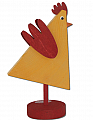 Sebastian modern cock, yellow/dark red, H 15 cm