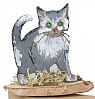 wooden cat grey on a wood plate, for candlerings, H 6 cm, 6 mm wood plug
