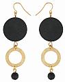 Aarikka Medeia earrings black/gold, Length 8 cm