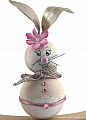 wooden Eastern hare mother beige with metallic synthetic leather ears and white flower, h 8 cm