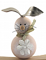 wooden Easter hare child beige with metallic synthetic leather ears and flower, h 6 cm